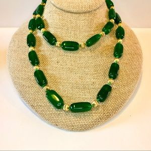 💚 Vtg Emerald Green Glass Statement Necklace 💚